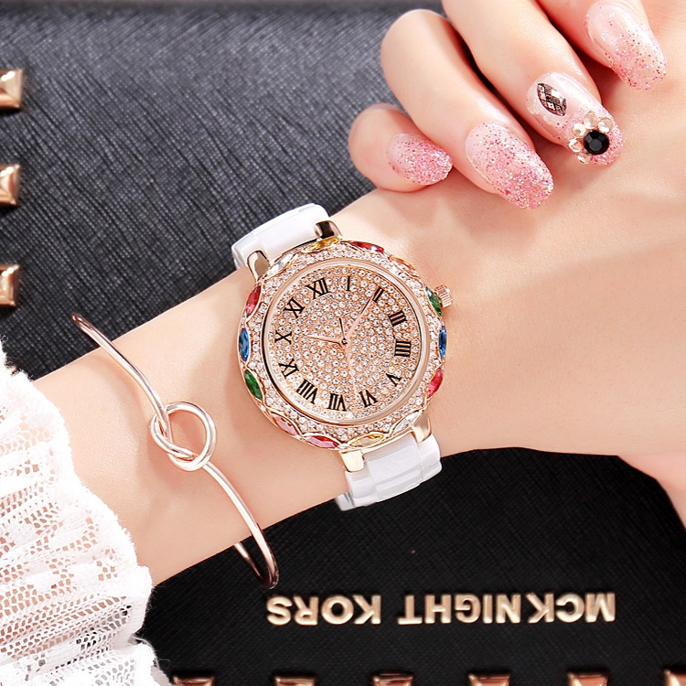 2019 패션 브랜드 세라믹 여성 팔찌 시계 럭셔리 레이디 다채로운 라인 석 손목 시계 전체 다이아몬드 크리스탈 드레스 시계-에서여성용 시계부터 시계 의  그룹 1