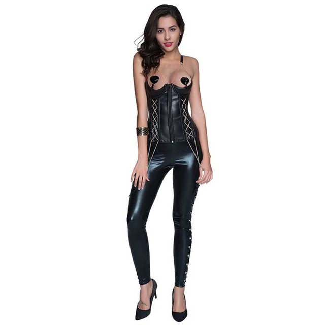 fe69306c88 Black Leather Steampunk Cupless Corset Sexy Gothic Corsets And Bustiers  Underbust Waist Trainer Korsett For Women (Have Trousers