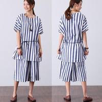 BUYKUD Women Gothic Summer Lacing T Shirt Casual Short Sleeve White and Blue Striped Shirt Women Plus Size Loose Streetwear
