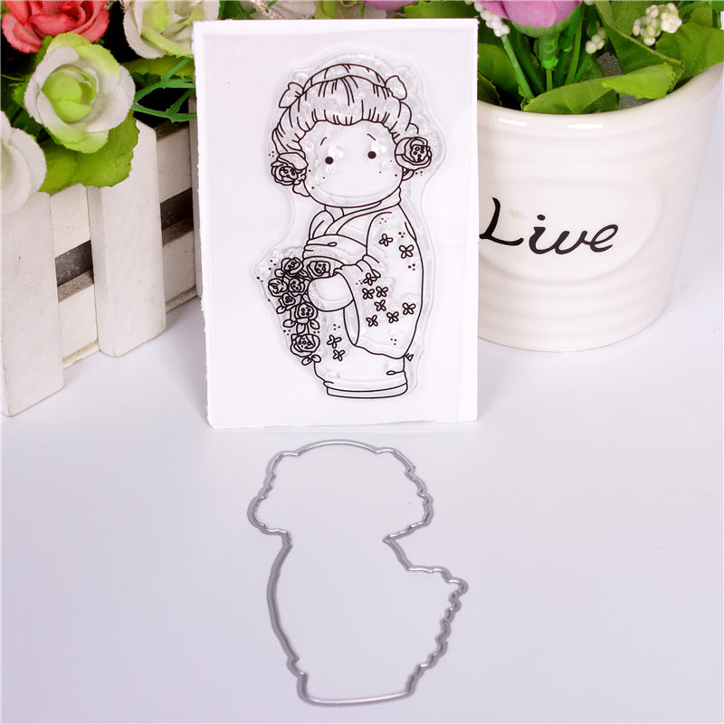 Rubber Silicone Clear Stamps and Metal Cutting Dies for Scrapbook Card Making