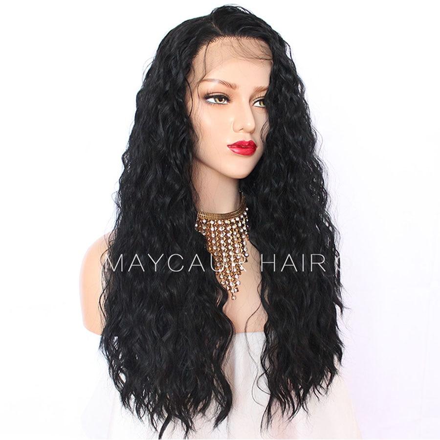 180 Täthet Långt Löst Curly Paryk Med Babyhår Syntetisk Lace - Syntetiskt hår - Foto 4