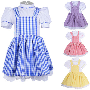 Hot Kids Girls Halloween Party Wizard of OZ Dorothy Princess Fancy Dress children maid Cosplay Dress costumes 90cm-155cm Height(China)