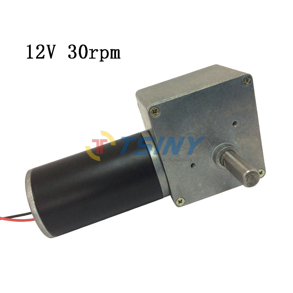 High Torque 12 volt Worm Right Angle Gear Motor with Gear Reduction 30RPM Out Shaft 1pcs dc 12 24v shaft high torque right worm gear motor speed reduction
