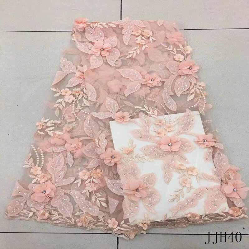 New Orange/Rose pink/Fucsia/Beige/Yellow handmade 3D flowers/beaded wedding/evening dress lace fabric