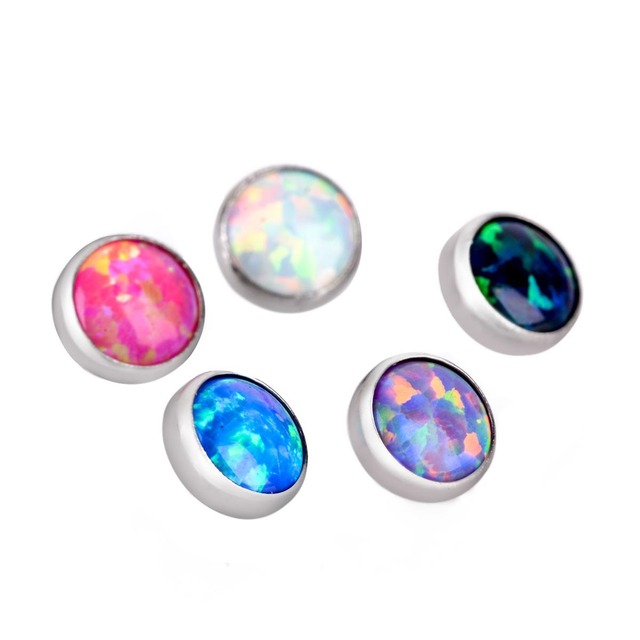 1pc Surgical Steel Opal...