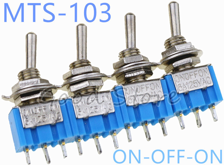 Lighting Accessories Generous 10pcs On-off-on Light Blue 3pin 3 Position Latching Mts-103 Ac 125v/6a 250v/3a Power Button Switch Car Lights & Lighting