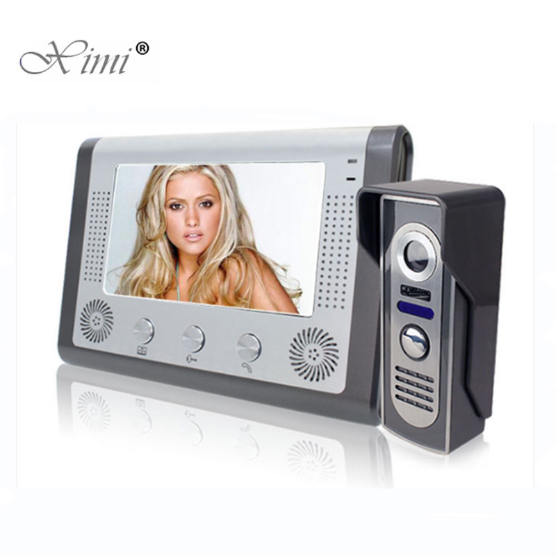 Good Quality 7 Inch Color Screen Video Door Phone Intercom Door Bell System With IR Camera Hands- Free Monitor Video Door Bell blouse with flower bell bottom color blue