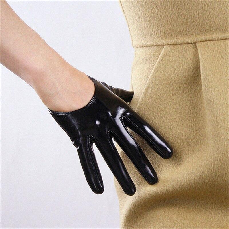 13cm Patent Leather Ultrashort Gloves Emulation Leather Bright Leather Wild Ultra-Fashion Bright Black Female 2019 New WPU86
