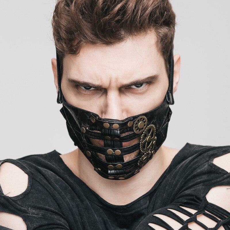 Nouveau punk chaud explosion vapeur Punk Cosplay peau masque Rivet Punk STEAMPUNK Gear ROCK cuir masque noir masque visage