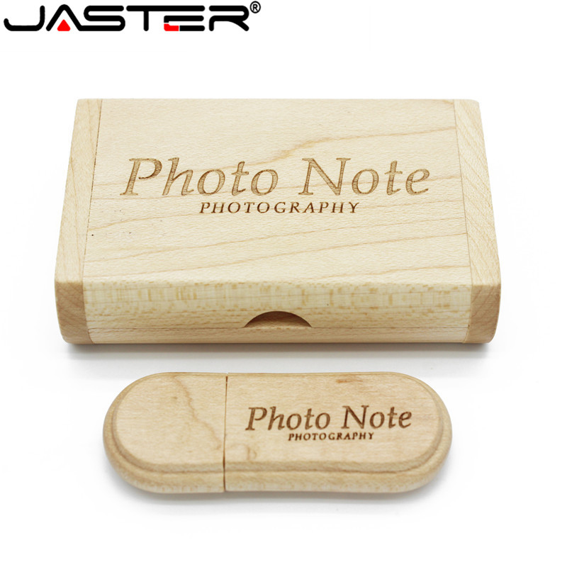 Image 2 - JASTER customer LOGO laser engraving wooden+Box pendrive 8GB 16GB 32GB 64GB USB Flash Drive photography gift (10 PCS Free LOGO)-in USB Flash Drives from Computer & Office