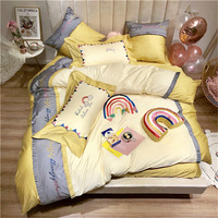 New 60s Egyptian cotton ruffle comfort bed set RUIYEE rainbow embroidery tassel king size bedding duvet cover sheets pillowcase