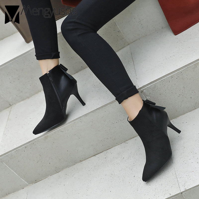 suede patchwork high heel ankle boots women spring autumn butterfly knot fashion booties korean style chelsea boots mujer