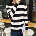 2016 winter New Fashion Men's Sweaters Men Slim Thick Round Neck Sweater Stripes Stitching Men Warm Sweaters