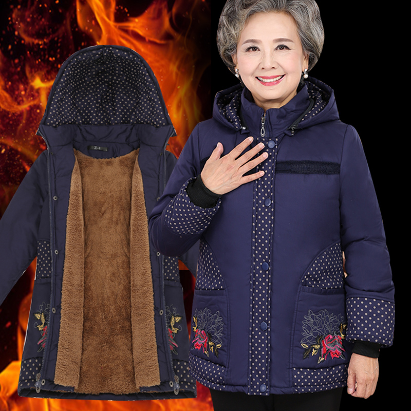 2018 Middle aged women s cotton padded mothers installed with cashmere jackets down jacket for the