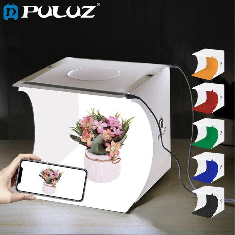 PULUZ 1/2LED Panels Lightbox Light box Mini Photo Studio Box 1100LM Photography Light Studio Shooting Tent Box Kit & 6 Backdrops