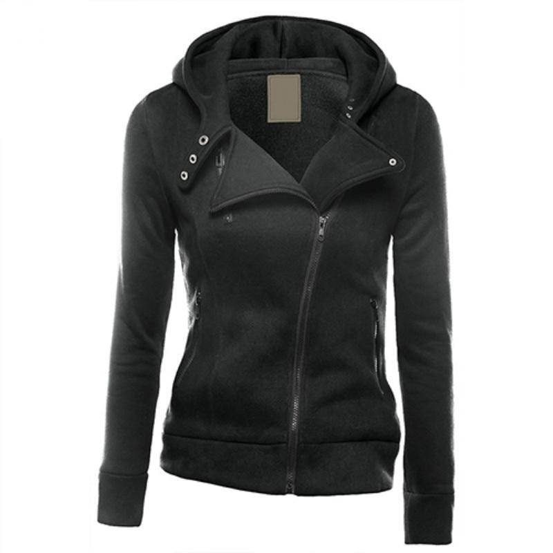 Women Fashion Zipper Hoodie Hooded Sweatshirt Coat Jacket Casual Slim Outwear