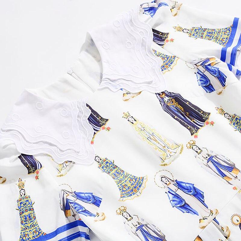 Blanc Jolie Manches 2019 D'impression Haute Courtes Mode Qualité Longueur Printemps down Turn De Col Robe Genou Mince gnTTq5wOxH