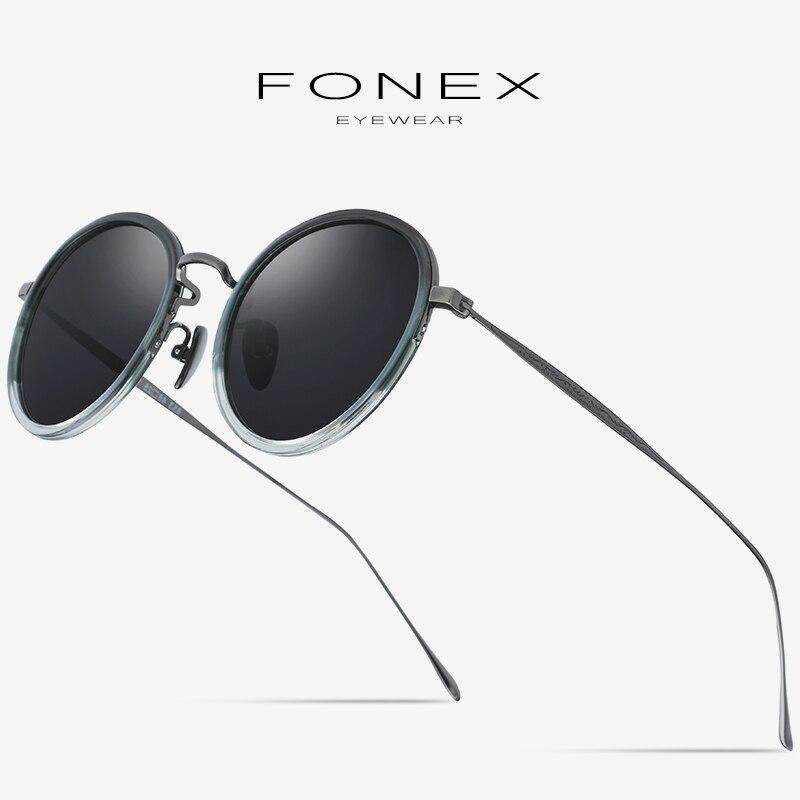 Pure B Titanium Acetate Polarized Sunglasses Women Retro Mirrored Sun Glasses For Men Fashion Vintage Round Sunglass Male 853