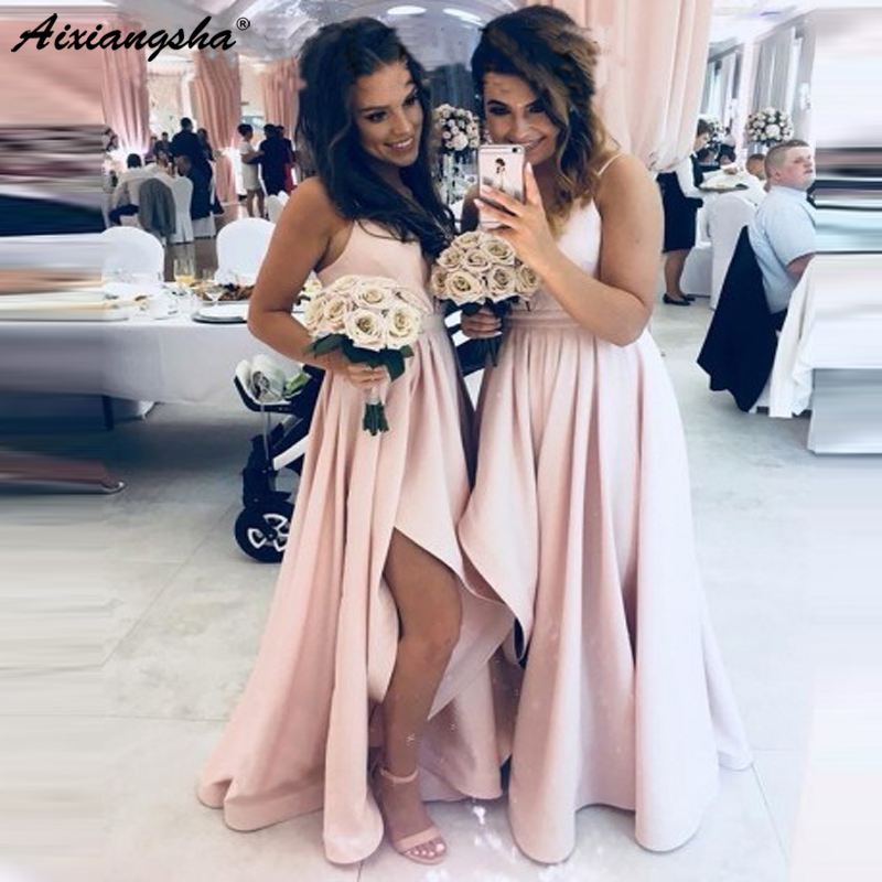 f800b639b53 Sexy Pink Satin 2019 Bridesmaid Dresses Spaghetti Straps Sleeveless High  Low Country Wedding Guest vestidos de fiesta de noche