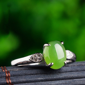 Real 925 sterling Silver Supply Vintage Certificate Natural green Jade Adjustable rings Cool Finger Women Cute Ring Gift Box