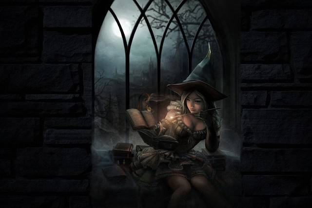 fantasy art dark witch magic spell books halloween girl women babes cloth silk art wall poster