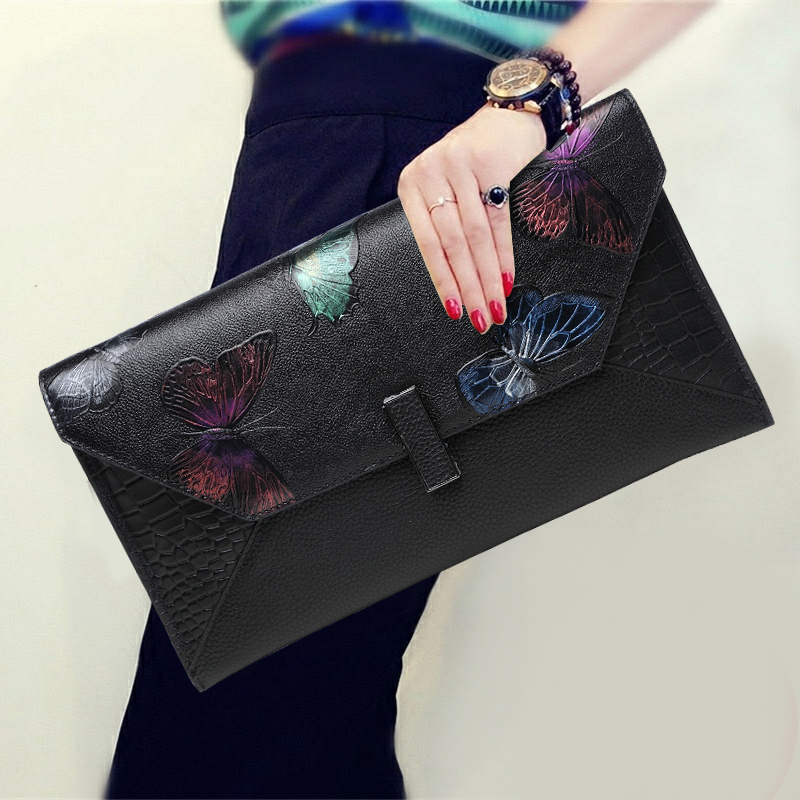 Chinese Style Soft Genuine Leather Vintage Envelope Top Leather Fashion Women Banquet Clutch Wallet Shoulder Crossbody Bag Purse new 2017 most popular women fashion vintage envelope clutch purse ladies high grade wallet bag sac bolsa a9