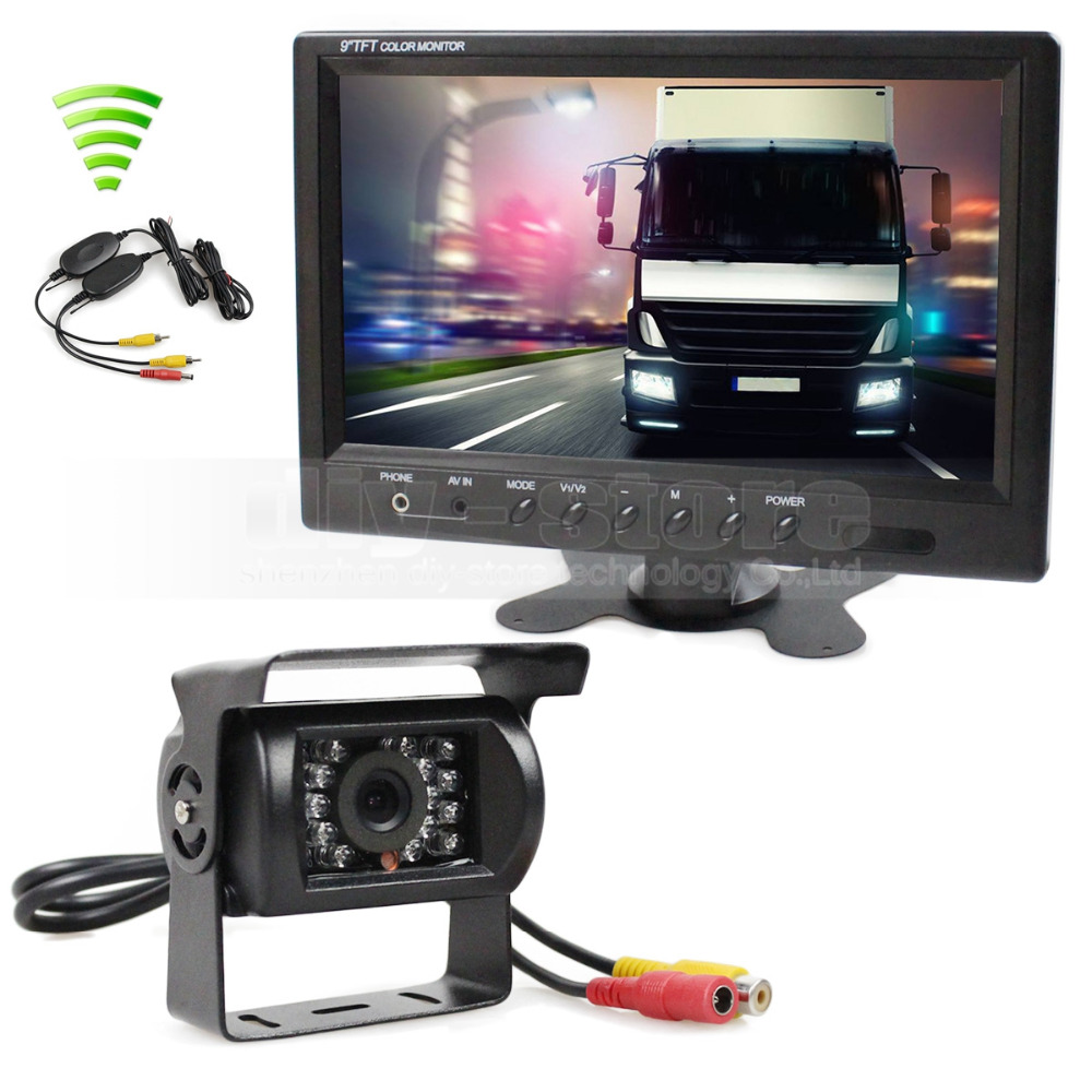 DIYKIT Wireless 12V DC 9inch LCD Display Rear View Car Monitor Waterproof CCD Reverse Backup Car Truck Camera IR Night Vision diykit 9 inch tft lcd display rear view car mirror monitor with 2 video input for parkign system car ccd camera cam dvd