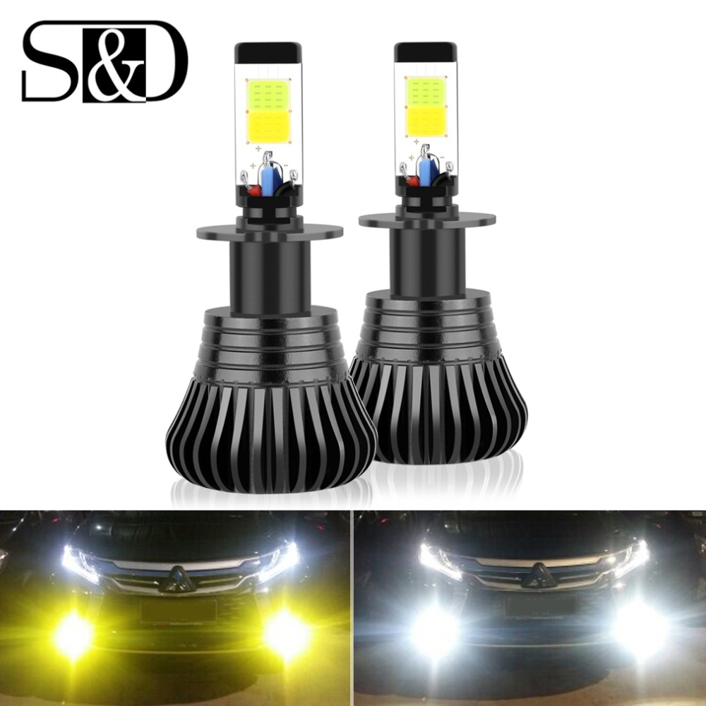 2pcs Car Lights H3 LED Fog Lights DRL Daytime Running Lights Drving Bulbs Dual Color 3000k 6000k Auto Lamp 12V 24V