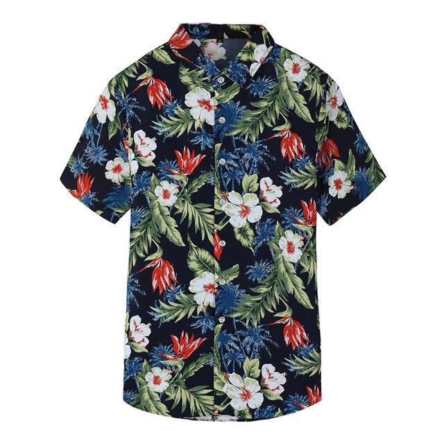 Джин JUE LES 2018 новые летние Для мужчин; футболка с коротким рукавом модные Повседневное Гавайский цветок рубашка мужской плюс Размеры 5XL 6XL 7XL