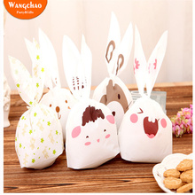 20pcs/lot Cartoon Animals Plastic Packing Bag Rabbit Ear Cookie Candy Bags Baby Shower Kids Favors and Gifts Supplies