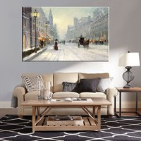 Best Gift Snowing Carriage Thomas Kinkade Snow Street Landscape Painting Reproduction Prints Canvas Wall Art for Home Decor