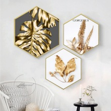 Modern luxury Decorative paintings Hexagonal painting with frame Restaurant studio mural Golden leaf livingroom wall decoration