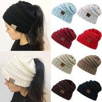 6c0c08bae8418 Drop Shipping CC Ponytail Beanie Hats For Women Winter Cap Knitted Skullies  Beanies Warm Caps Female Knit Messy Bun Hats Soft