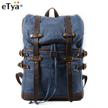 eTya Canvas Men's Luggage Bag Casual Backpack Male Waterproof Fashion Travel Bag Large Capacity Travel Organizer Storage Bag