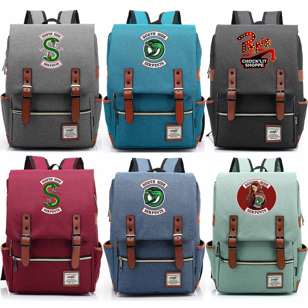 Snake pop's chock'lit shoppe Riverdale Boy Girl Student School bag Teenagers Schoolbags Canvas Women Bagpack Men Belt Backpack