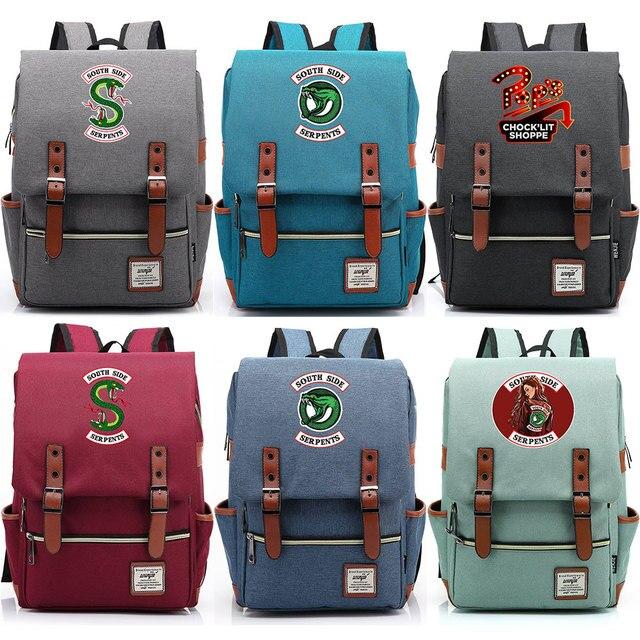 스네이크 팝의 chocklit shoppe Riverdale 소년 소녀 학생 학교 가방 청소년 Schoolbags 캔버스 여성 Bagpack 남성 벨트 배낭