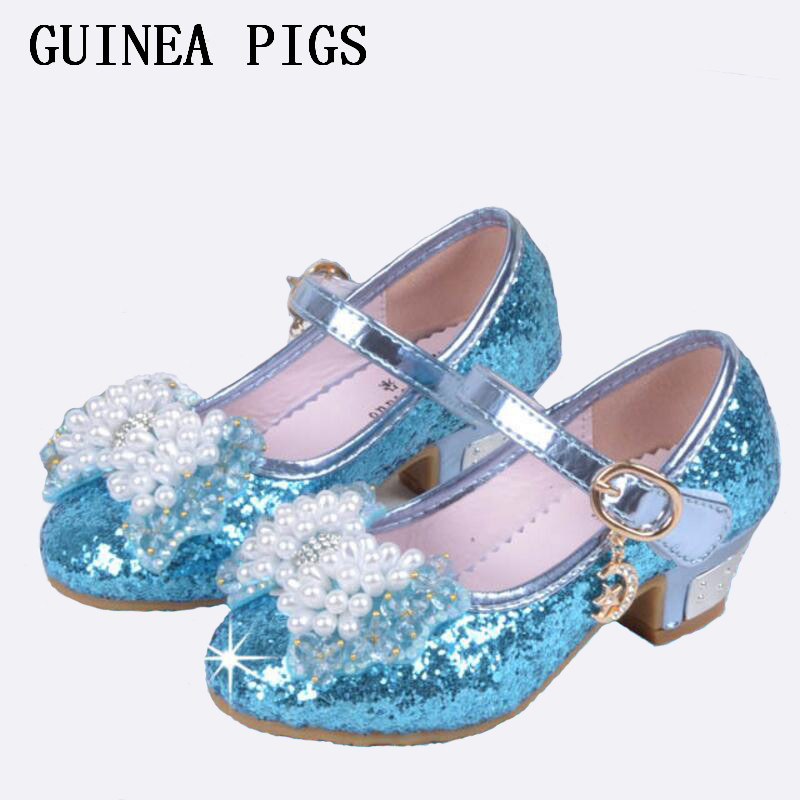 Sequin Glitter Children Shoes Girls High Heels Pumps Kids Snow Queen Party Beading Dance Shoes For