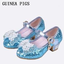 Sequin Glitter Enfants Chaussures Filles Haute Talons Pompes Enfants Neige reine Parti Perles De Danse Chaussures Pour Les Filles Sandales Avec Arc GUINÉE