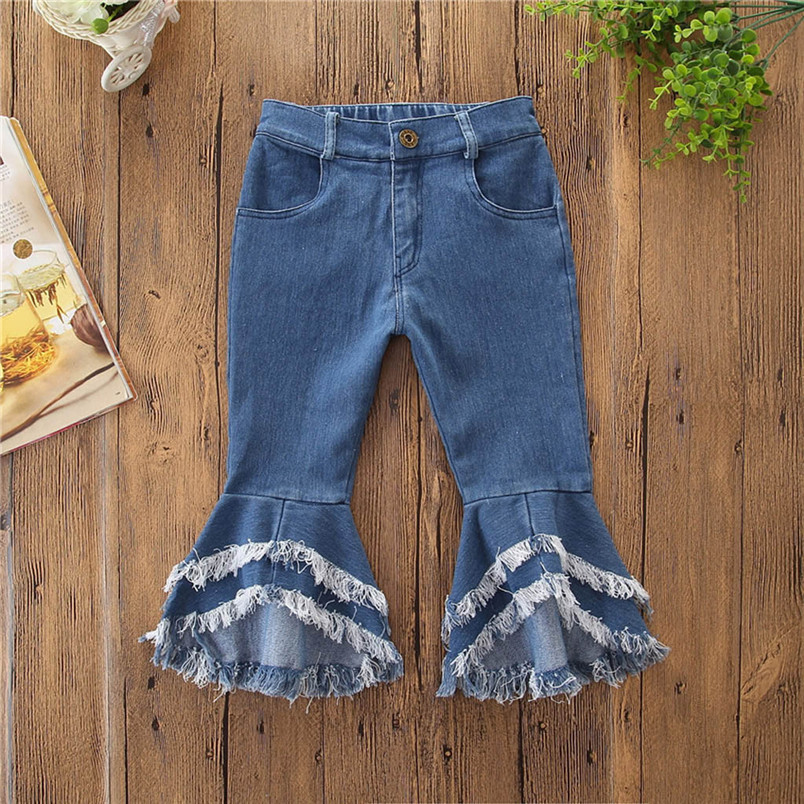 toddler kids baby girls flare pants denim tassel clothes jeans pants kawaii pants for kids girls conjunto infantil 40ja07 (10)