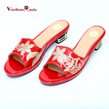 5f7935b74c4d3b WesternRain Mid Heels Black Red Shoes Women Slippers latest ladies slippers  shoes and fashion sandals F018