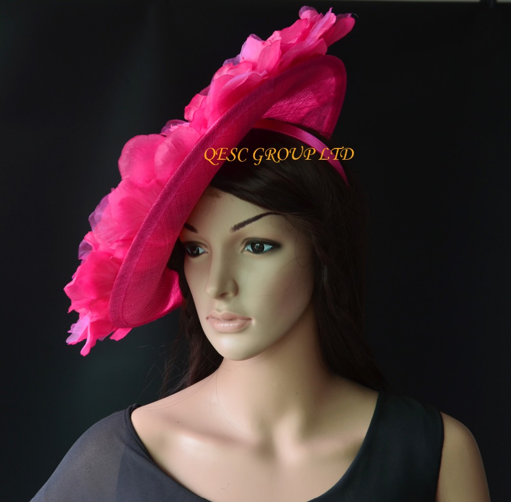 Hot pink fuchsia big sinamay hat saucer fascinator hat Silk flower  fascinator Kentucky derby hat for races 7d7c9bce365