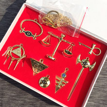 8pcs/set Yu Gi Oh necklace keychains pendant Millenium emperor's cosplay key Triangle logo alloy pendant cosplay gift(China)