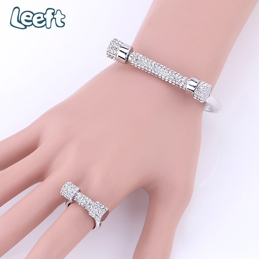 Charm Full Rhinestone Horseshoe Crystal Cuff Bracelets For Women Jewelry Screw Love Bangles Bracelets Pulseira Feminina A0201
