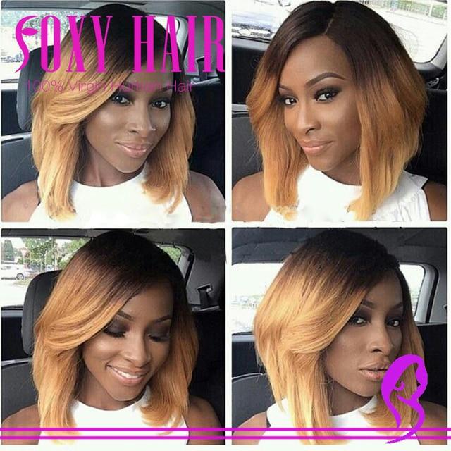 Brazilian Bob 6 22 Glueless Ombre Color Lace Front Wig