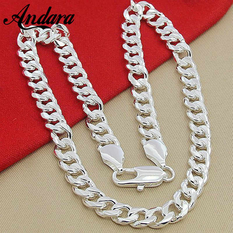 Men's 22'' 55cm 10MM Hip Hop Chain Necklace 925 Silver Jewelry Statement Necklace For Male