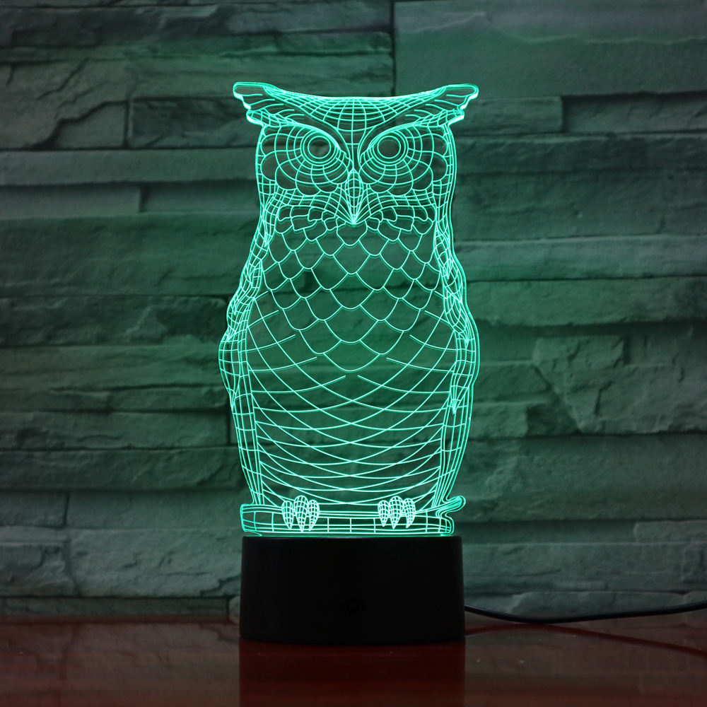 Led Lamps Owl 3d Visual Bulb Optical Illusion Led Lamp Touch Switch Sensor Night Light Usb Flexible Projection Engraved Acrylic Gifts Let Our Commodities Go To The World