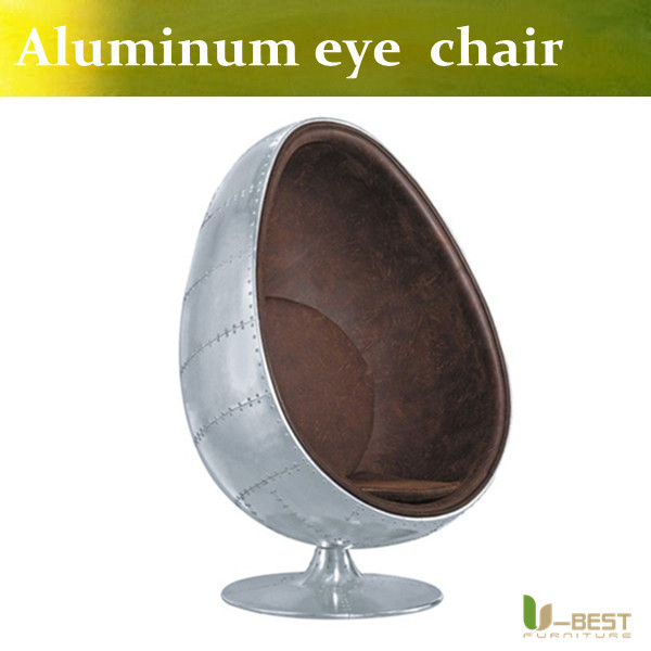 Affordable Ubest High Quality Aluminum Egg Pod Chair Top Grain Real Leather Egg  Chair With Egg Chair Leder
