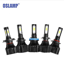 Oslamp S5 H1 H3 H4 H7 H11 COB LED Headlight 8000lm 72w 6500K Car Front Bulb Dipped High Beam Fog Lamp All-in-one 9005 9006 9007