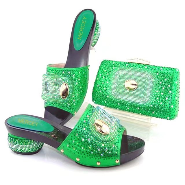 Green low heel sandal shoes matching stones clutches bag for old lady dance  in african asoebi lace fabric party BCSB0025 62f9cd5858f9