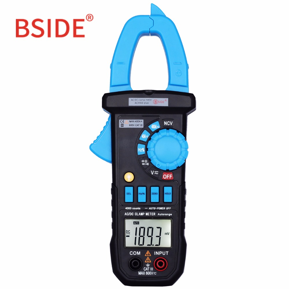 BSIDE Auto Range Clamp Meter ACM01/03Plus Car Voltmeter Ammeter Digital Multimeter with Backlight Resistance Continuity NCV Test